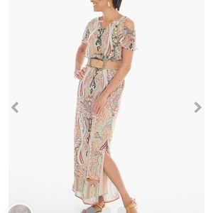 Chicos Paisley Cold Shoulder Maxi Dress Size 16